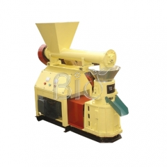 Flat die pellet machine with feeder